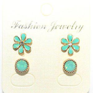 Enamel Coated Flower Stud Earring Set